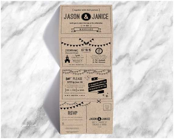 Accordion Wedding Invitations Accordion Fold Wedding Invite with Hipster Icons Hand Written