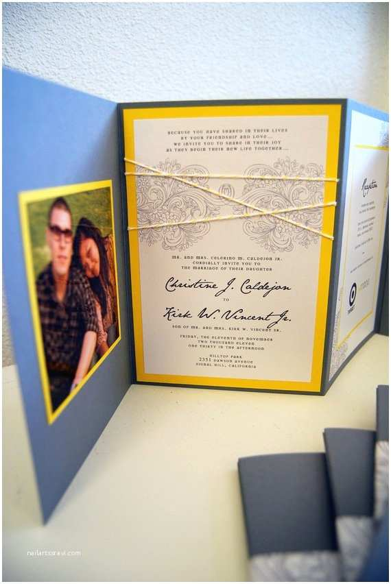 chic accordion style wedding invitation