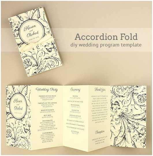 Accordion Wedding Invitations Diy Accordion Wedding Program Free Template Project