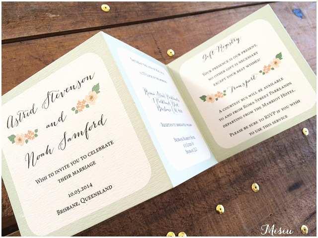Accordion Wedding Invitations Mini Mint Wedding Invitation Accordion Style