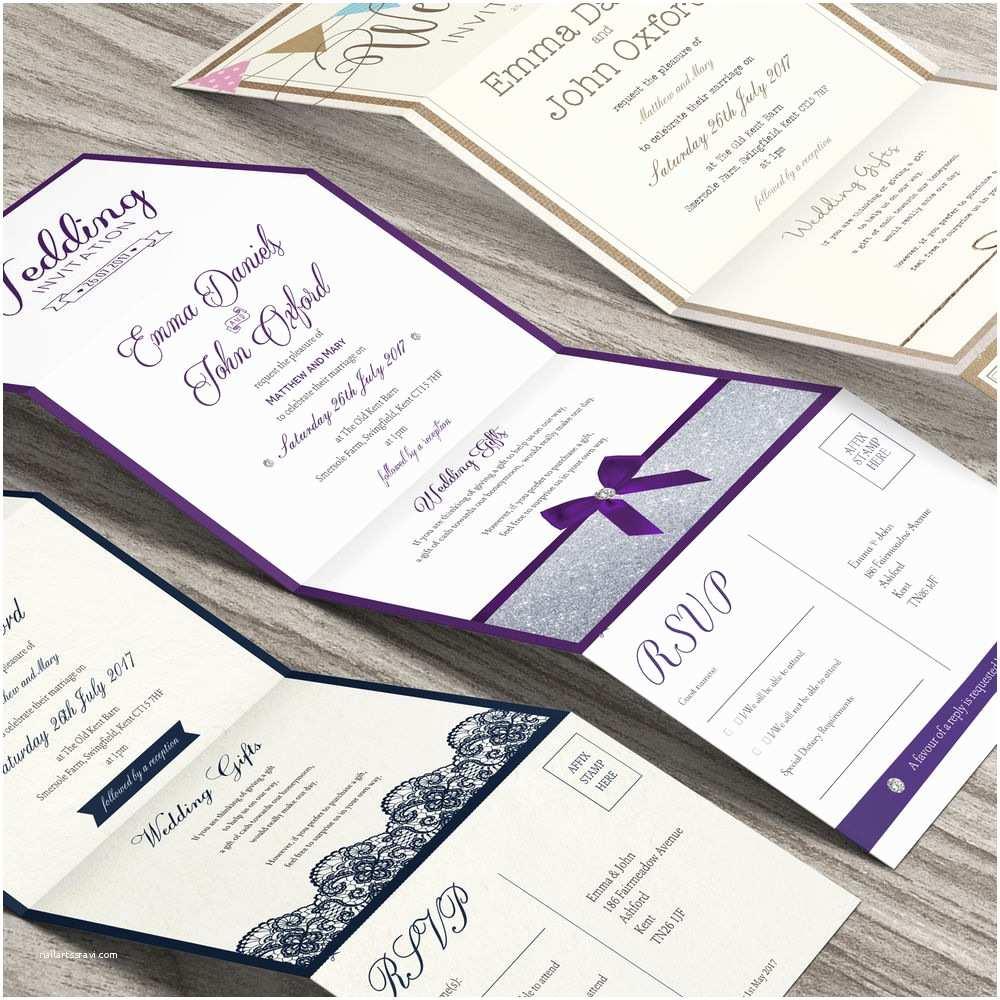 Accordion Wedding Invitations Personalised Wedding Invitations Accordion with Rsvp Cards