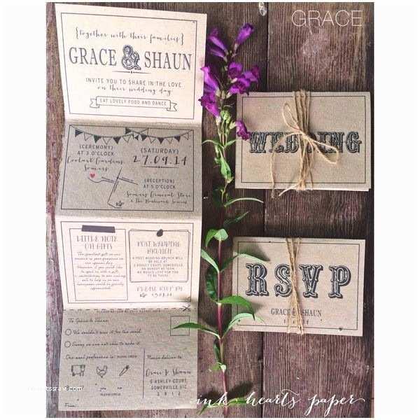 Accordion Wedding Invitations Recycled Kraft Rustic Country Barn Vintage Wedding