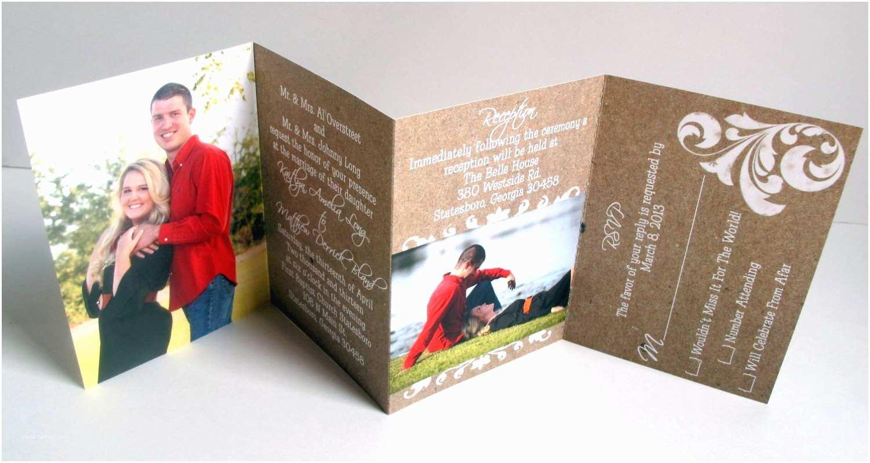 Accordion Wedding Invitations Wedding Invitations – Faux Kraft Paper – Accordion Fold