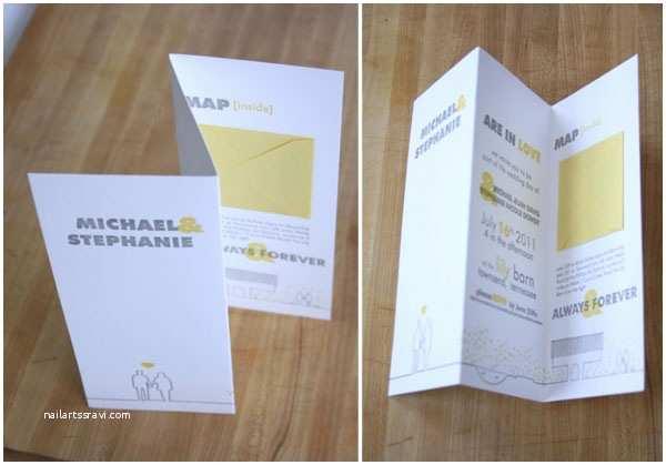 Accordion Wedding Invitations Yellow & Gray Letterpress Wedding Invites