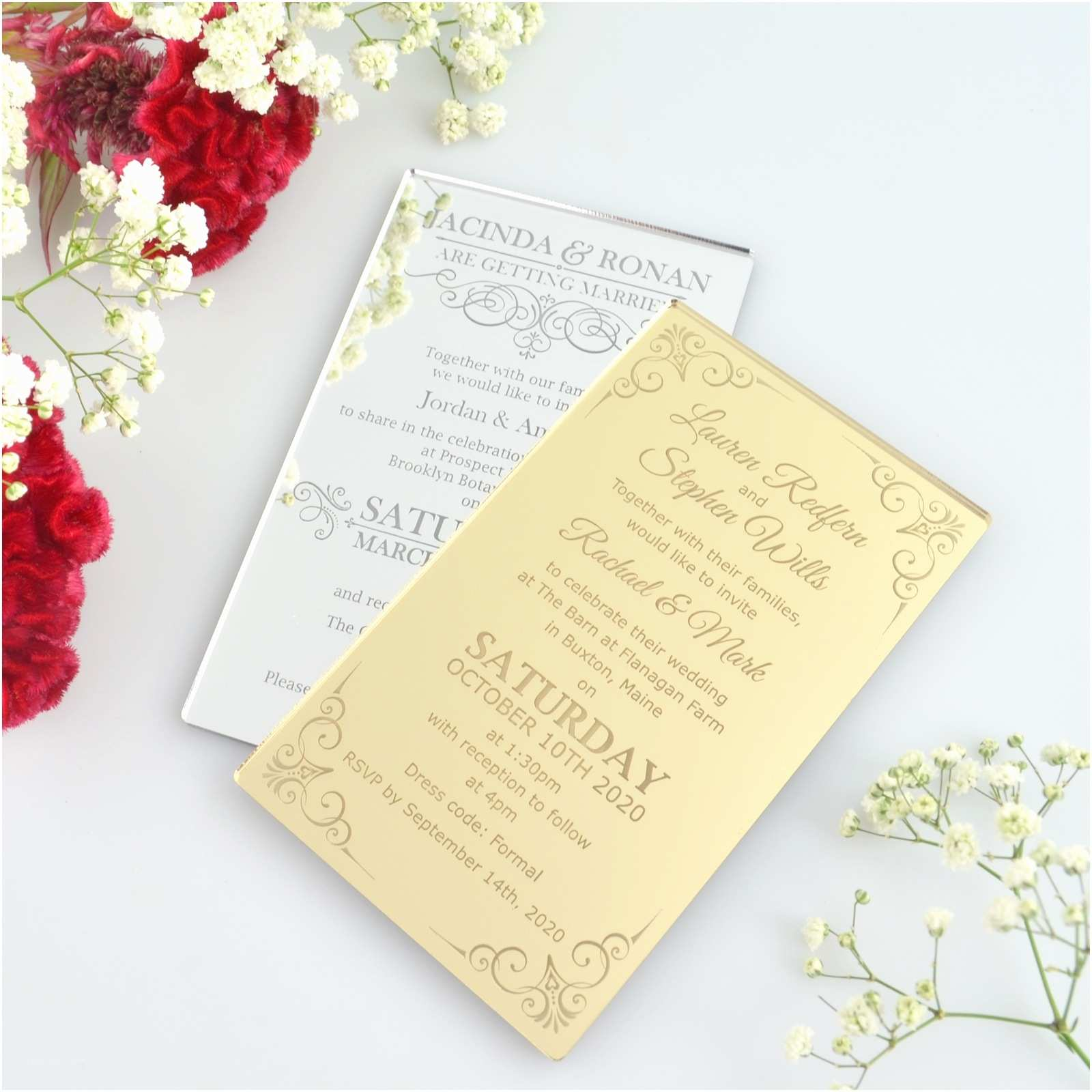 Acrylic Wedding Invitations Engraved Acrylic Wedding Invitation Gift and Mementos for