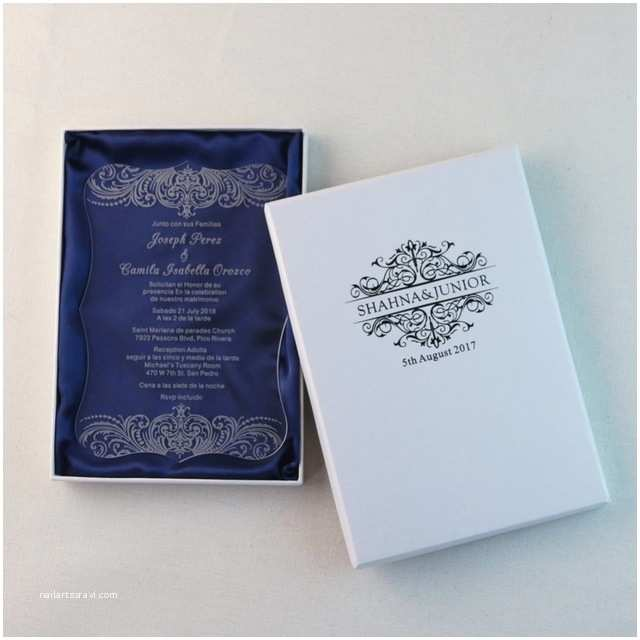Acrylic Wedding Invitations with Box 50 Personalized Engraved Acrylic Wedding Invitation Cards