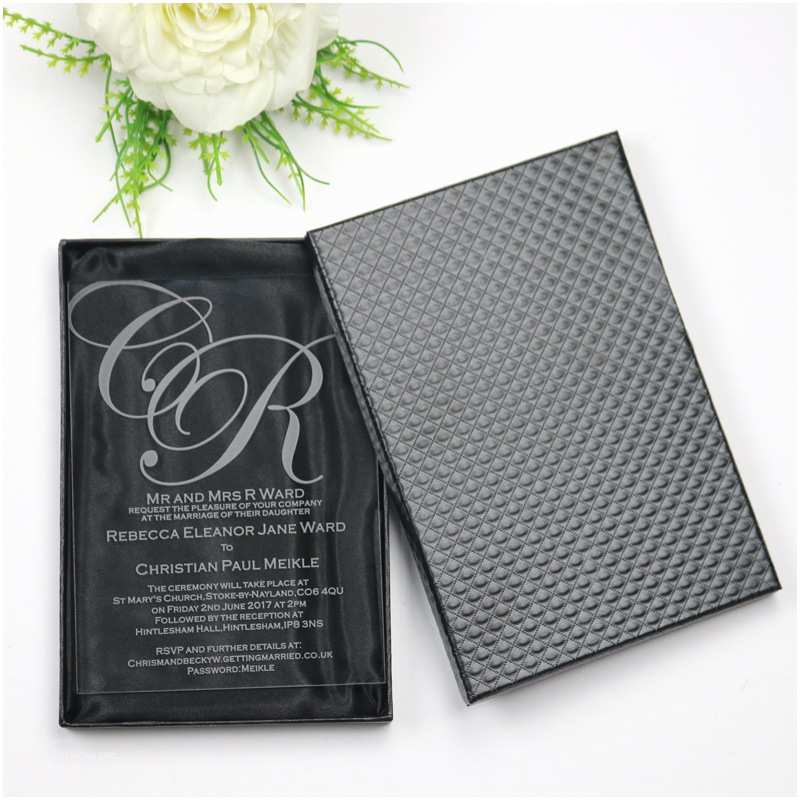 Acrylic Wedding Invitations with Box 50 Personalized Luxury Acrylic Wedding Invitation Cards