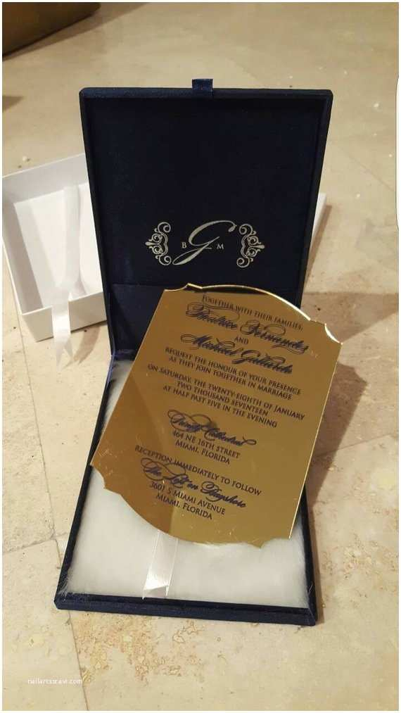 Acrylic Wedding Invitations with Box Acrylic Mirror Invitation Box with Color Printed Writing Fur