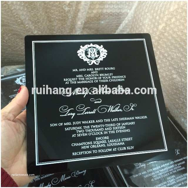Acrylic Wedding Invitations with Box Acrylic Printing Black Wedding Invitation for Wedding Card