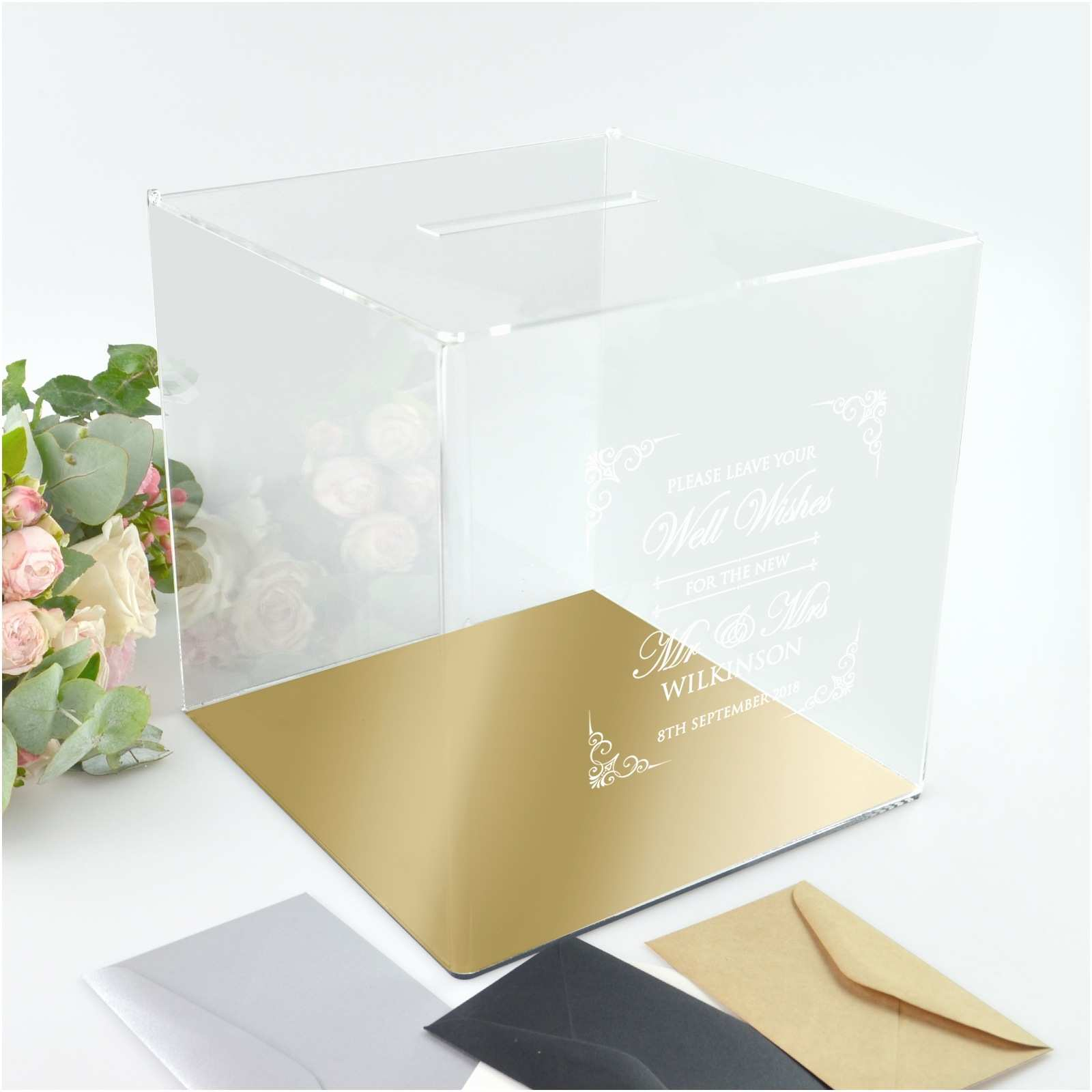 Acrylic Wedding Invitations with Box Acrylic Wishing Well Box