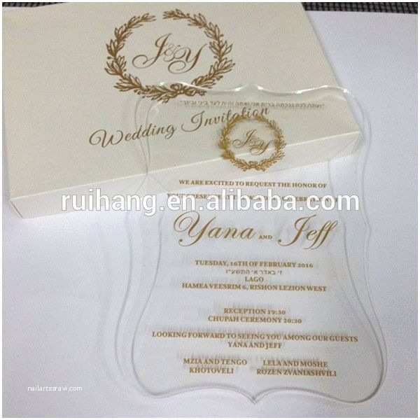 Acrylic Wedding Invitations with Box Clear Acrylic Die Cut Wedding Invitations for Elegant