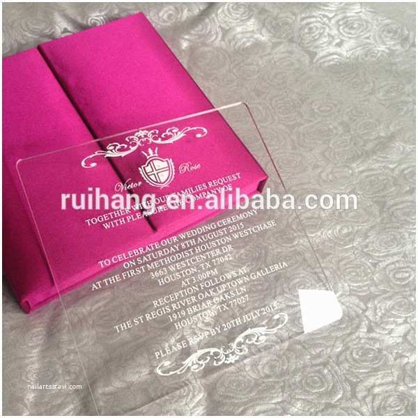 Acrylic Wedding Invitations with Box Custom Clear Acrylic with Silk Wedding Invitation Box