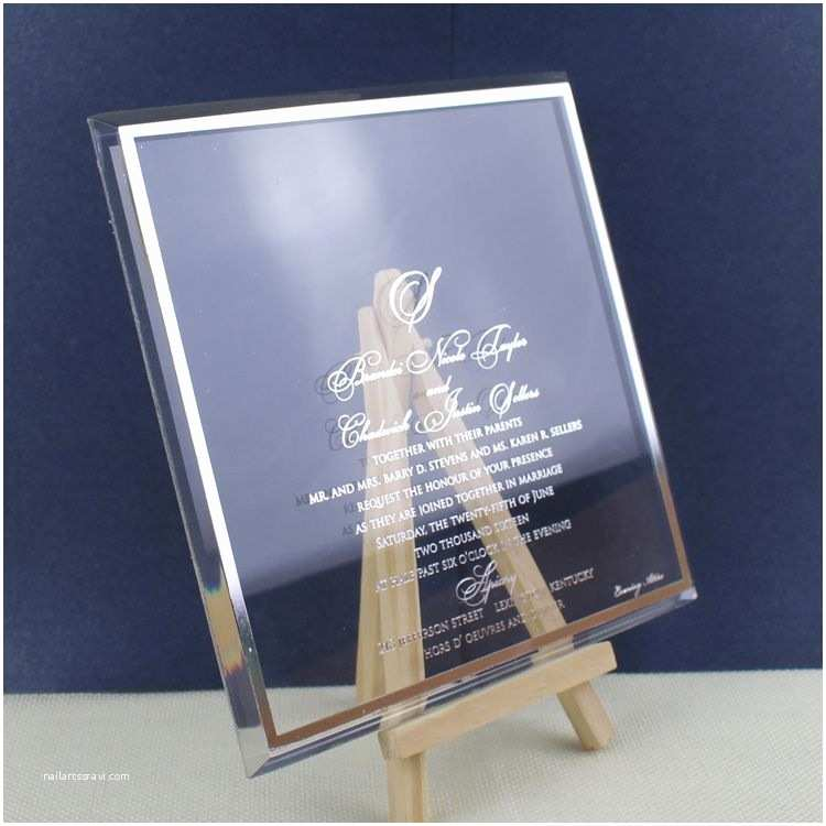 Acrylic Wedding Invitations with Box Customized Luxury Elegant Clear Acrylic Wedding Invitation