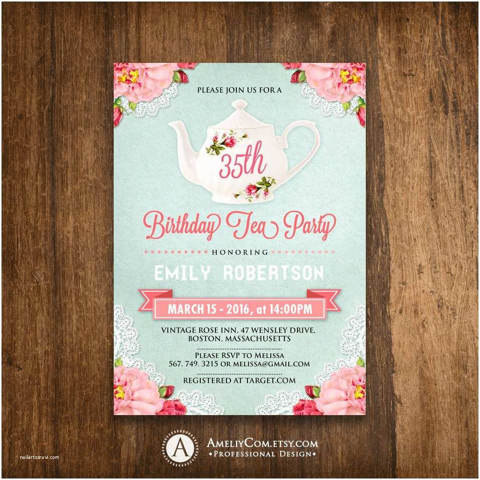 Adult Birthday Invitations Adult Birthday Invitations Tea Party Birthday Invite Diy