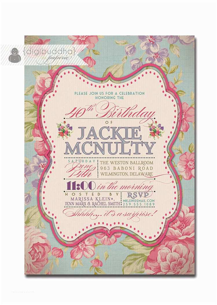 Adult Birthday Party Invitations Adult Birthday Invitation Vintage Rose Shabby Chic Rustic