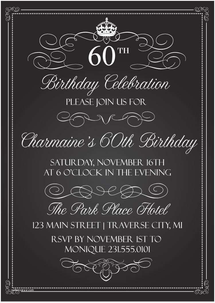 Adult Birthday Party Invitations Crown Vintage Birthday Invitations Chalkboard Adult
