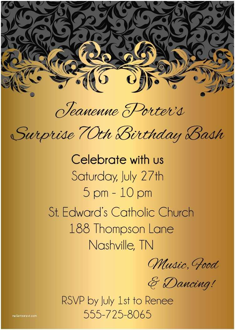 Adult Birthday Party Invitations Gold ornate Adult Birthday Party Invitations Digital