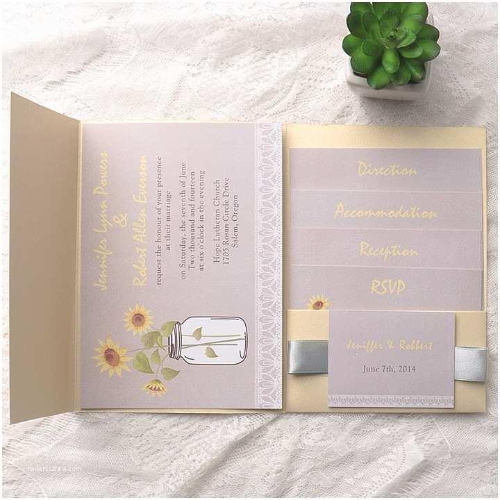 Affordable Pocket Wedding Invitations Affordable Rustic Sunflower Mason Jars Gold Pocket Wedding