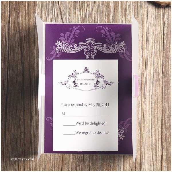 Affordable Pocket Wedding Invitations Affordable Vintage Purple Vellum Paper Pocket Wedding