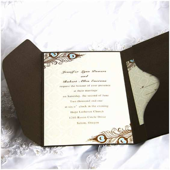 Affordable Pocket Wedding Invitations Cheap Peacock Wedding Invitations Line at