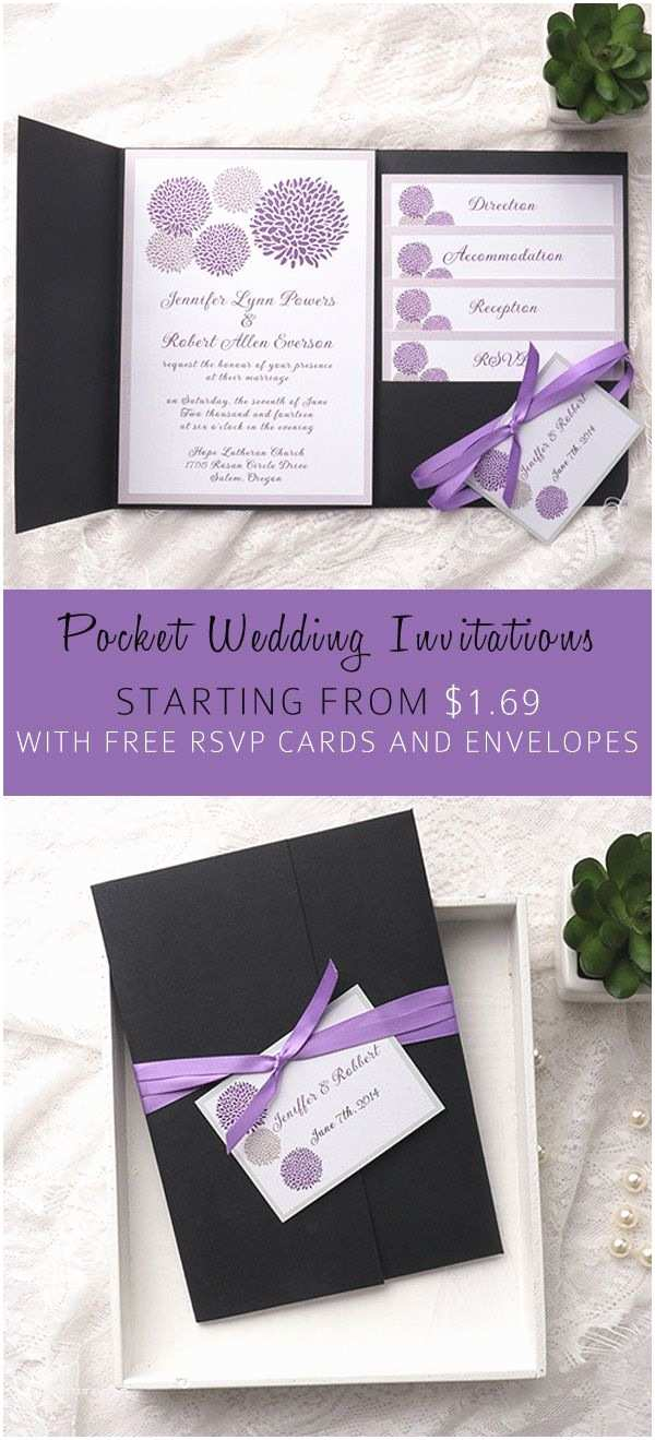 Affordable Pocket Wedding Invitations Cheap Purple Dandelion Black Pocket Wedding Invitation