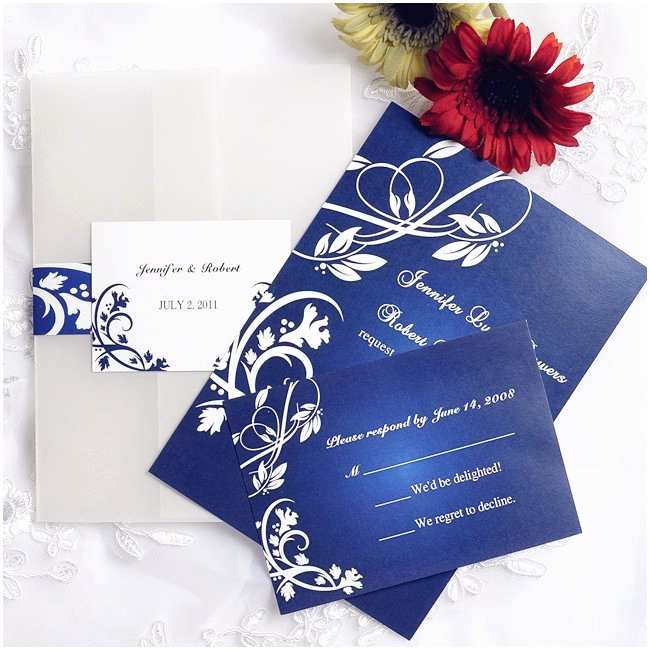 Affordable Pocket Wedding Invitations Cheap Royal Blue Pocket Wedding Invites with Free Rsvp