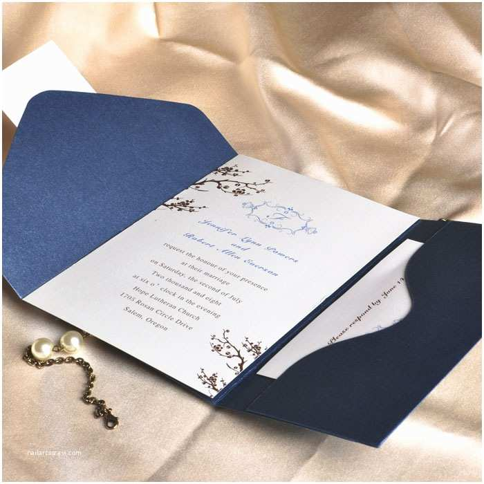 Affordable Pocket Wedding Invitations Elegant Floral Art Decor Monogram Blue Pocket Discount