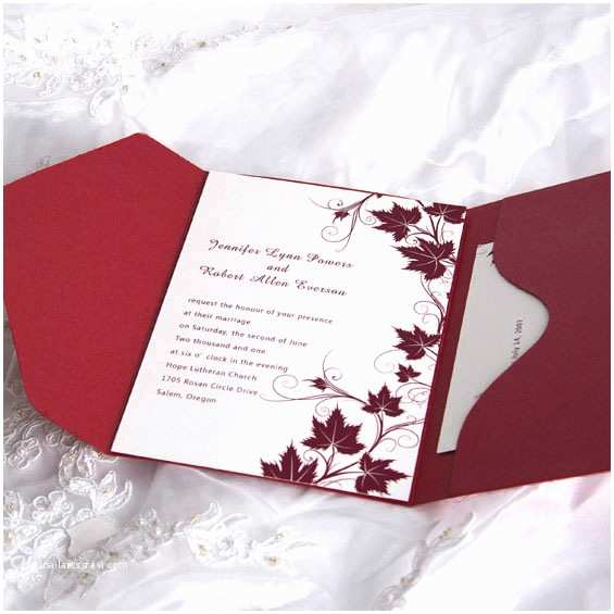Affordable Pocket Wedding Invitations Fancy Red Winery Pocket Wedding Invitation Ewpi007 as Low