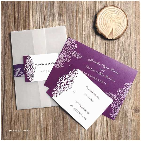 Affordable Pocket Wedding Invitations Purple Vintage Damask Printed Cheap Pocket Wedding