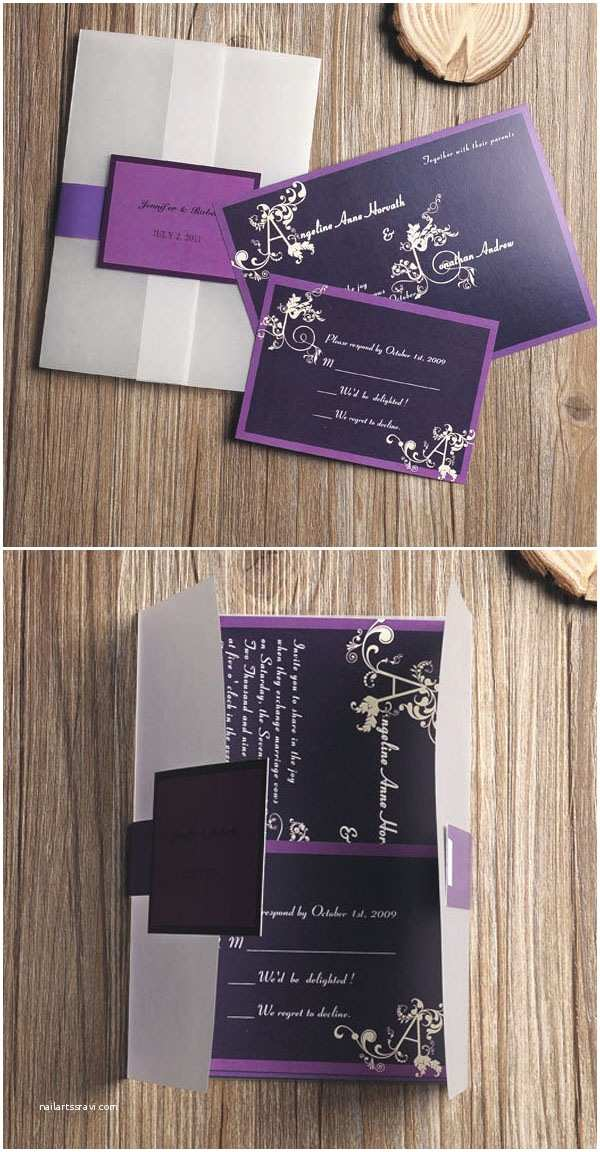 Affordable Pocket Wedding Invitations Purple Wedding Color Ideas Beautiful Bridesmaid Dresses