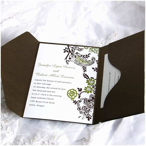 Affordable Pocket Wedding Invitations soft Floral Frame Pocket Wedding Invitation Ukps041