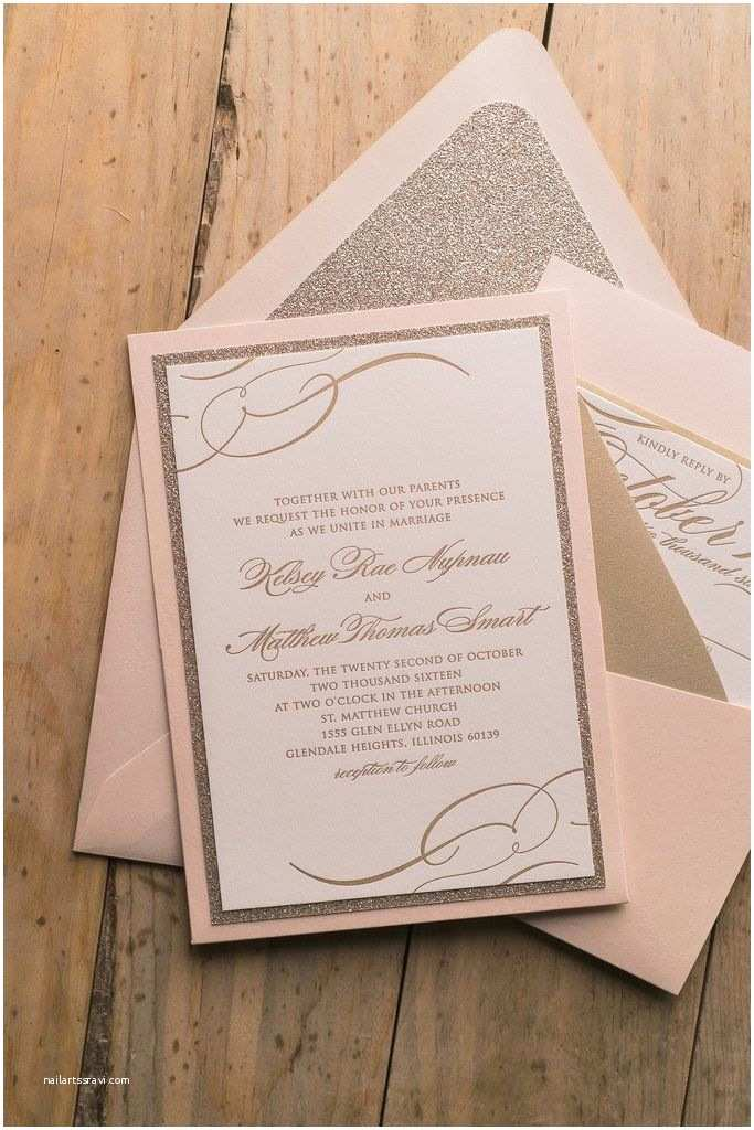 Affordable Pocket Wedding Invitations theresa Suite Panel Pocket Package Blush and Gold