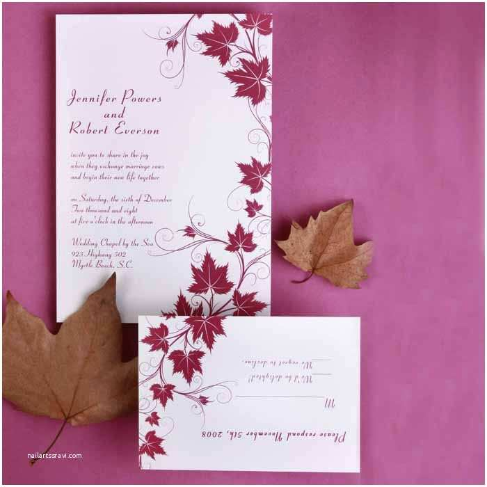 Affordable Wedding Invitation Sets Modern Red Maple Leaves Discount Wedding Invitation Sets