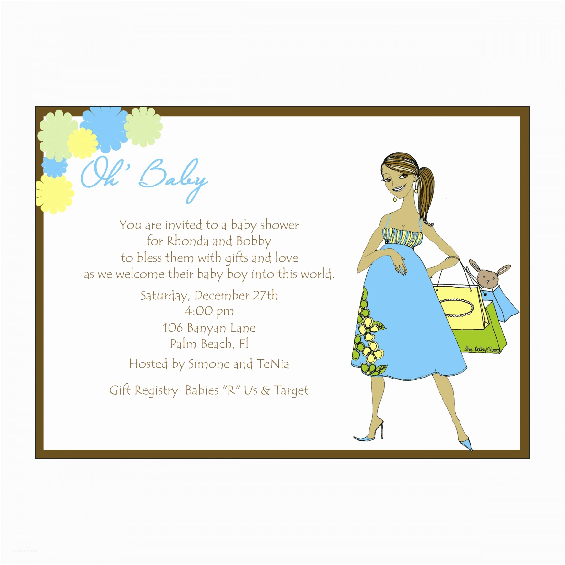 African American Baby Shower Invitations African American Oh Baby Blue