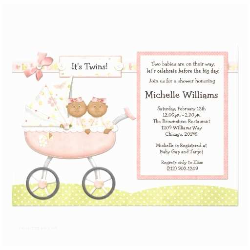 """African American Baby Shower Invitations African American Twins Baby Shower Invitation 5"""" X 7"""