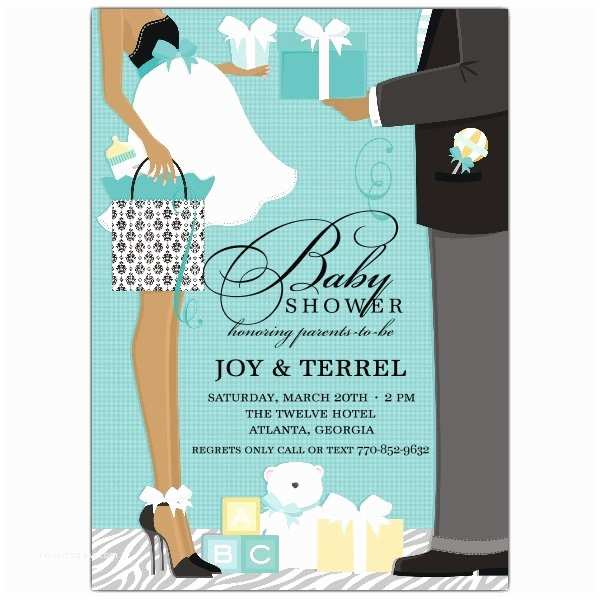 African American Baby Shower Invitations Classic Couple African American Blue Shower Invitations