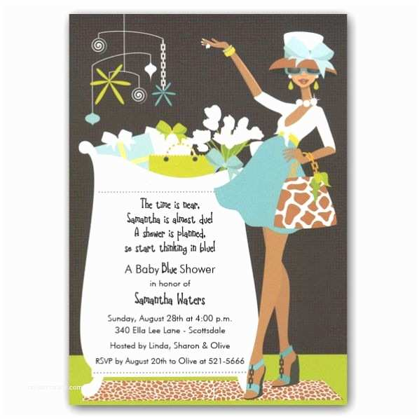 African American Baby Shower Invitations Glam Crib Boy African American Baby Shower Invites