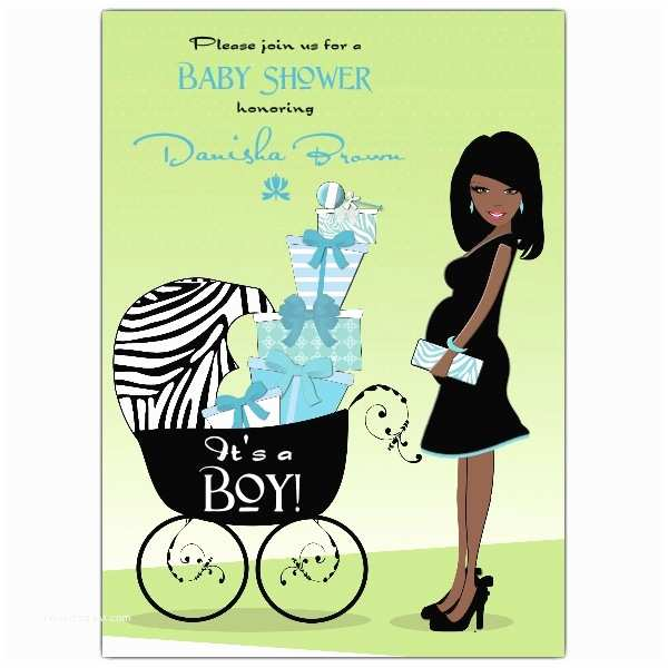 African American Baby Shower Invitations Hot Mama African American Blue Baby Shower Invitations