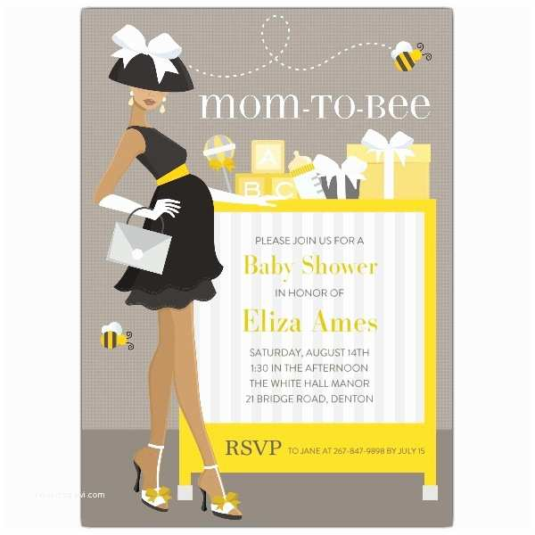 African American Baby Shower Invitations Mom to Bee African American Shower Invitations