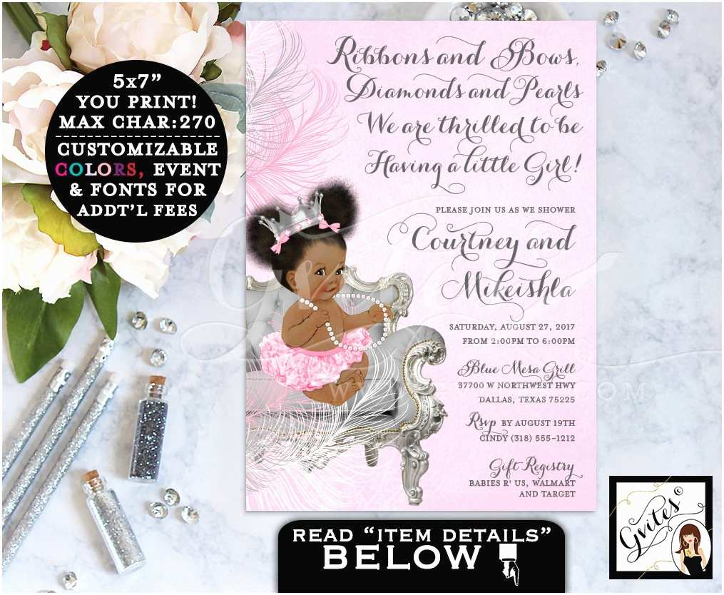 African American Baby Shower Invitations Pink and Silver Baby Shower Princess African American