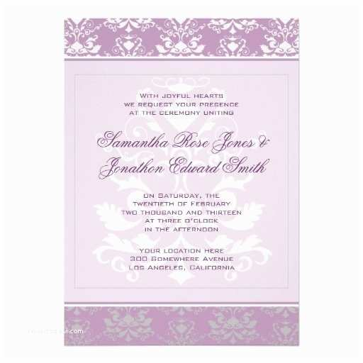 African themed Wedding Invitations African Violet & Silver Damask Wedding Card