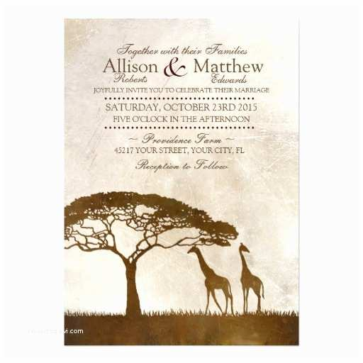 African themed Wedding Invitations Brown and Ivory African Giraffe Wedding Invitation