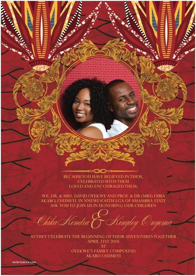 African themed Wedding Invitations Printable African Wedding Invitation Card