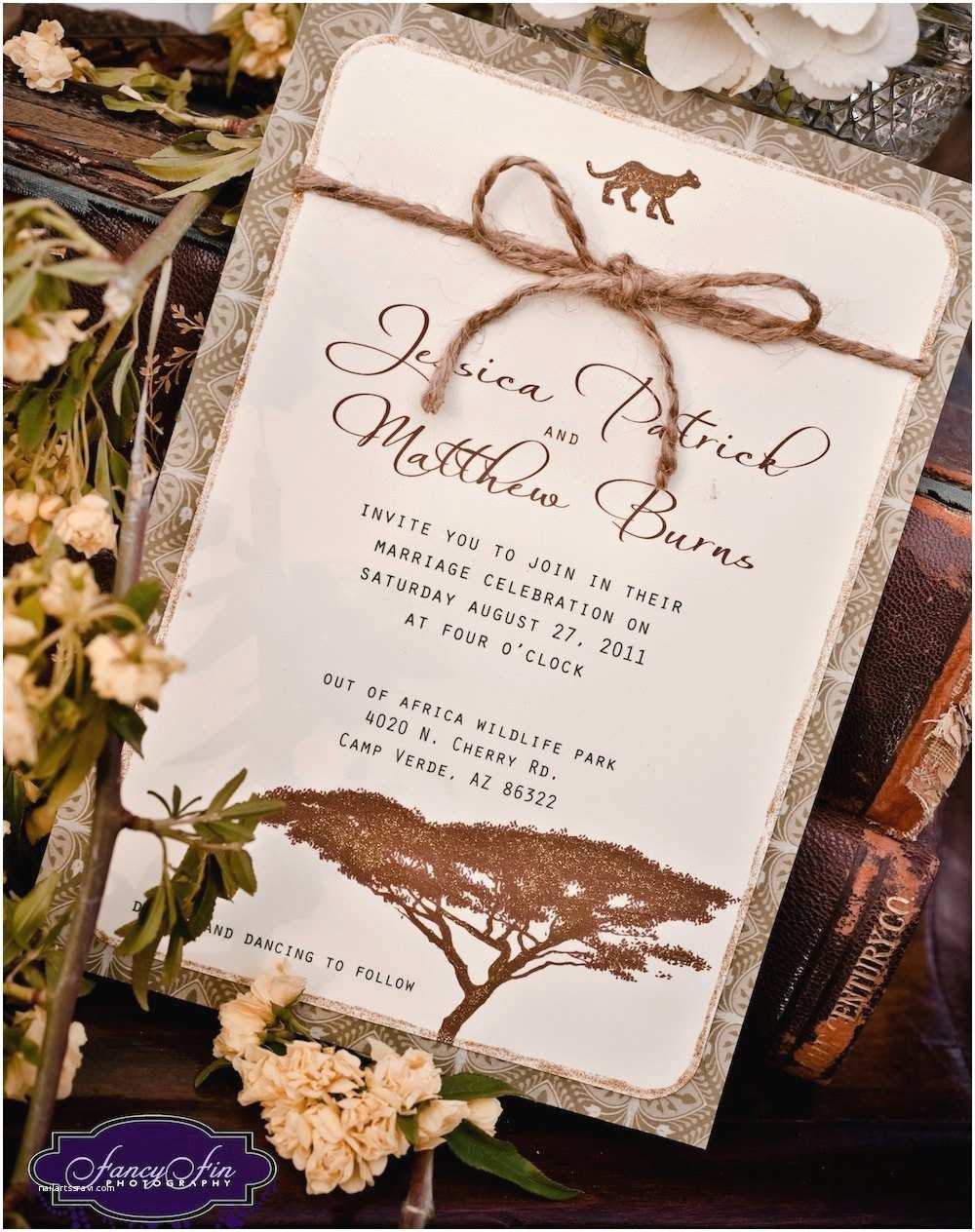 African themed Wedding Invitations Vintage Desert Safari Wedding Invitations Hand Painted and