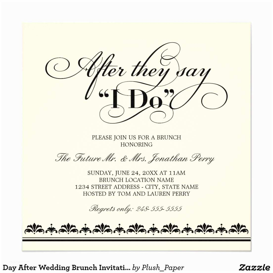 After Wedding Dinner Invitation Wording Day after Wedding Brunch Invitation