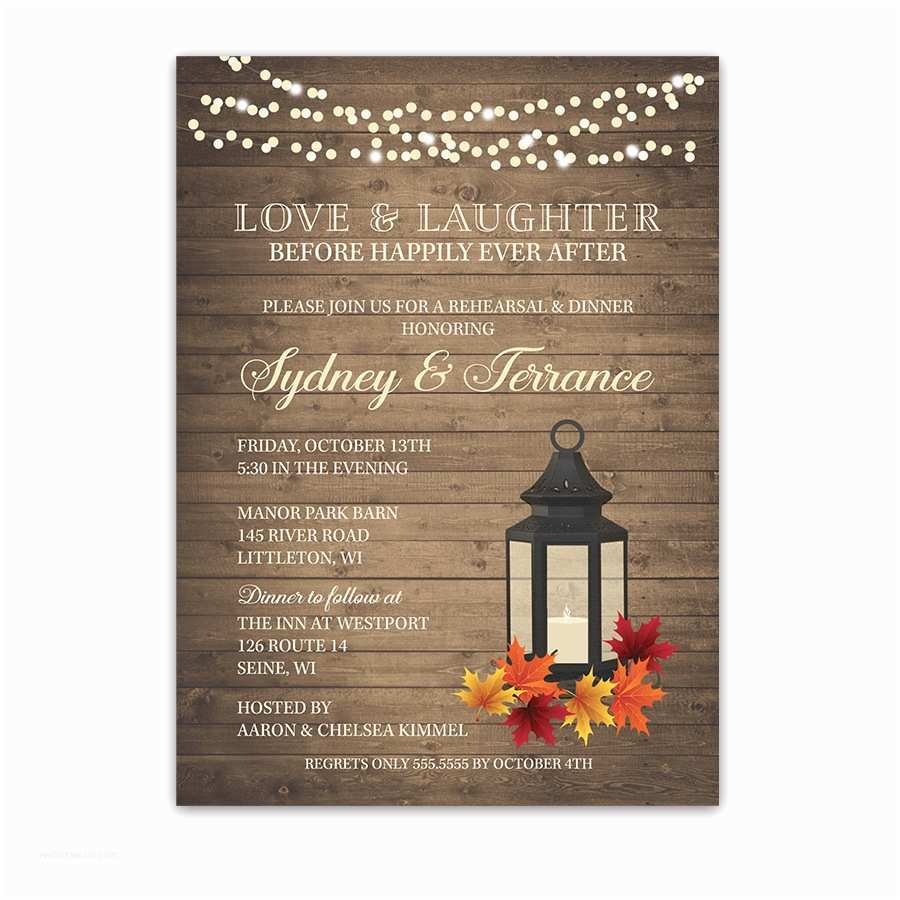 After Wedding Dinner Invitation Wording Happily Ever after Fall Wedding Rehearsal Dinner Invite