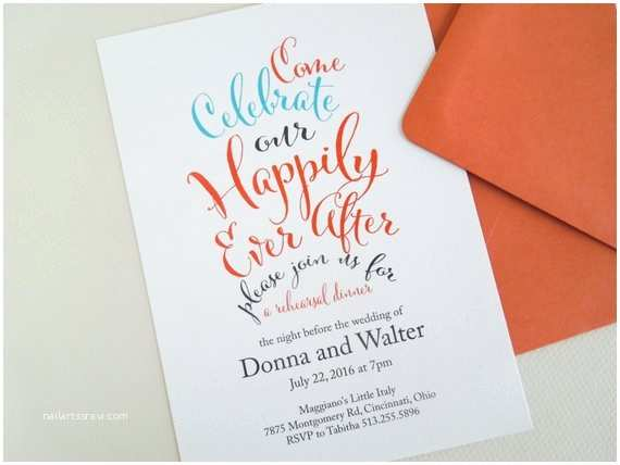 After Wedding Dinner Invitation Wording Rehearsal Dinner Invitation Happily Ever after by Invitedtoo