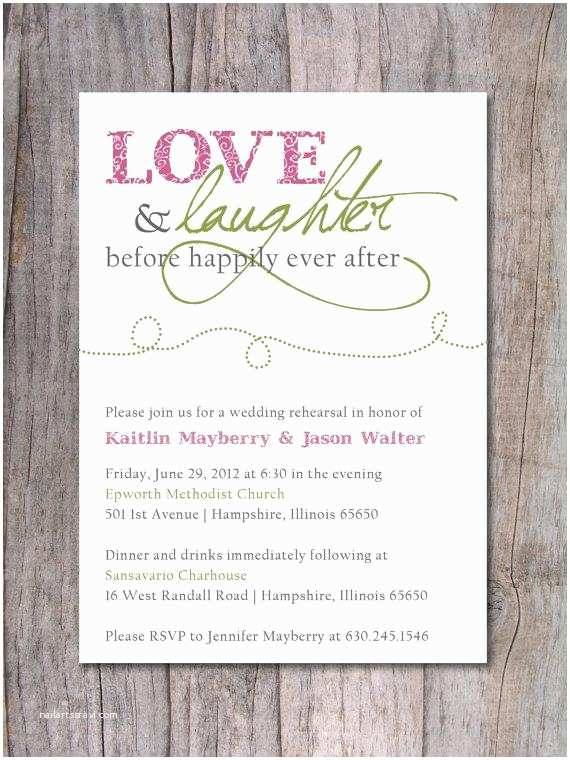 After Wedding Dinner Invitation Wording Rehearsal Dinner Invitation Happily Ever after