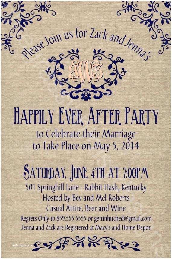 After Wedding Dinner Invitation Wording Rustic Burlap Linen Post Wedding Or