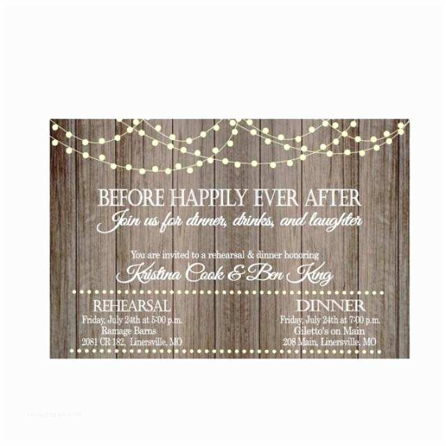 After Wedding Dinner Invitation Wording Vintage Lights Rustic Wood before Happily Ever after